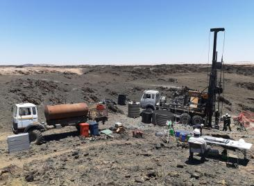 Drilling at site of hole GOD002