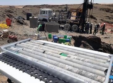 Drill core at site of hole GOD002